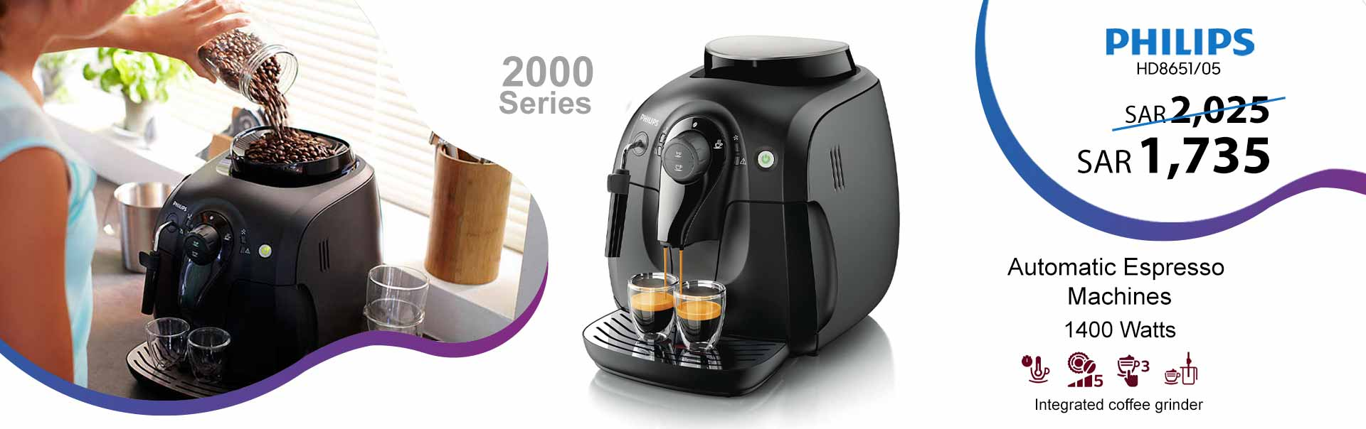 Philips 2000 Series One Touch Bean-to-Cup Espresso