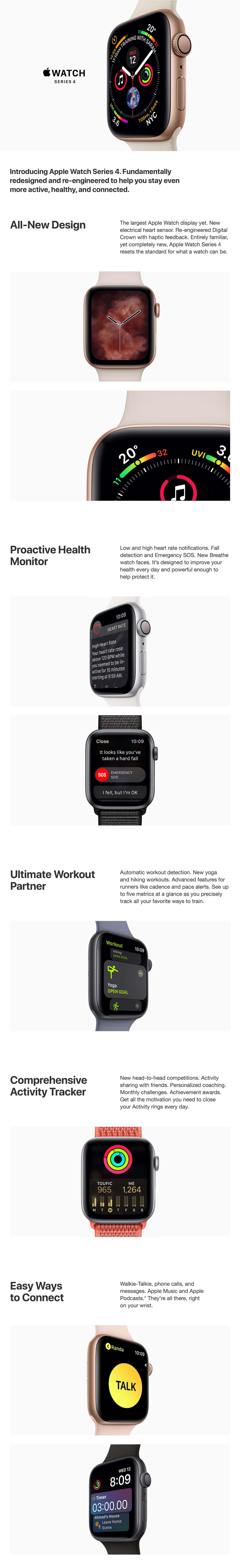 Apple Watch Sport Series 4, GPS, 44 mm, Gold, Aluminum Case